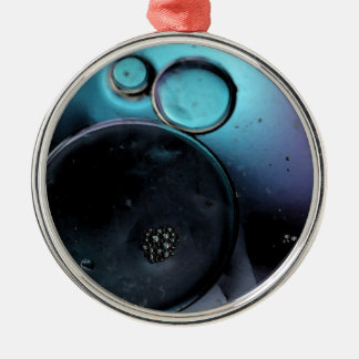 © P Wherrell Contemporary blue circles abstract Metal Ornament