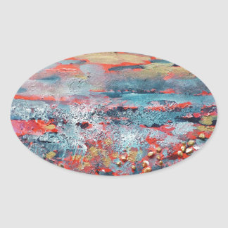 © P Wherrell Contemporary fine art abstract Oval Sticker