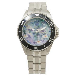 © P Wherrell Contemporary fine art waterlilies Wrist Watch