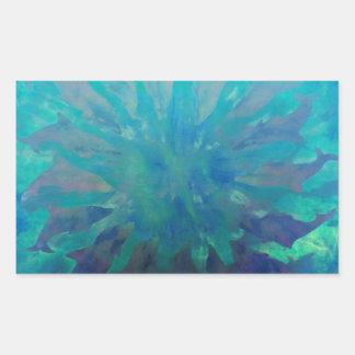 © P Wherrell Dolphin circle digital painting Rectangular Sticker