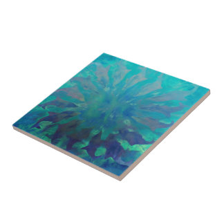 © P Wherrell Dolphin circle digital painting Tile