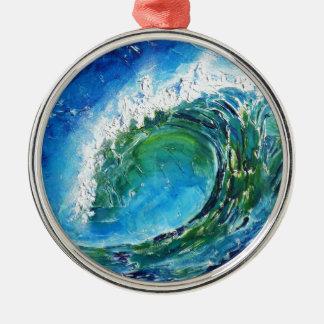 © P Wherrell Fine art oil painting wave ocean sea Metal Ornament