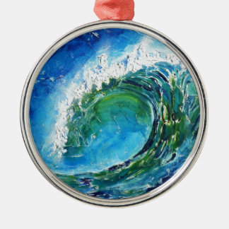 © P Wherrell Fine art oil painting wave ocean sea Christmas Ornaments