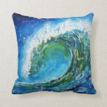 © P Wherrell Fine art oil painting wave ocean sea Throw Pillow