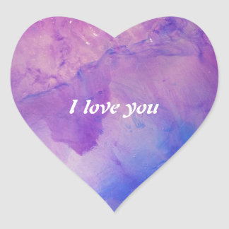 © P Wherrell Floral abstract I love you Heart Sticker