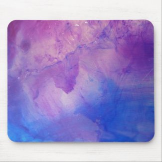 © P Wherrell Floral abstract in blue and purple Mouse Pad