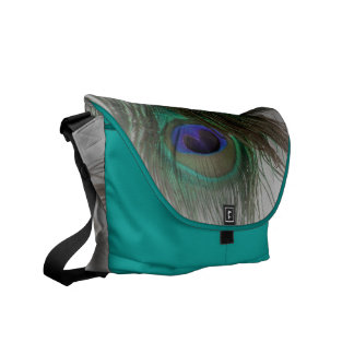 © P Wherrell Girly chic trendy peacock feathers Courier Bags