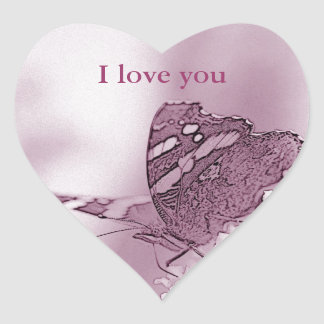 © P Wherrell I love you butterfly on buddleia Heart Sticker