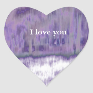 © P Wherrell I love you purple geometric abstract Heart Sticker