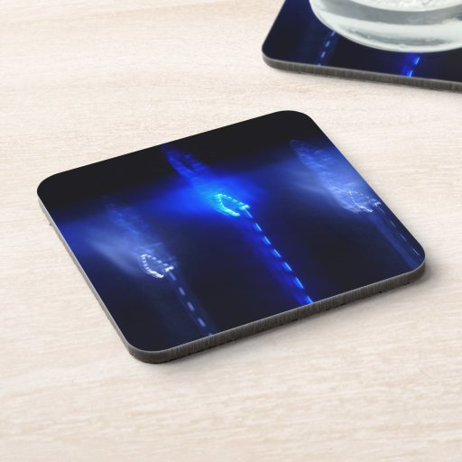 © P Wherrell Moonlight flares blue abstract Beverage Coasters