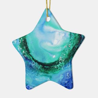 © P Wherrell Ocean lover fine art wave blue green Ceramic Ornament