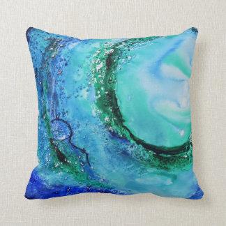 © P Wherrell Ocean lover fine art wave blue green Throw Pillow