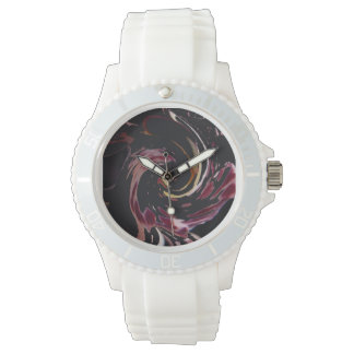 © P Wherrell Orchid abstract in pink and black Wrist Watches