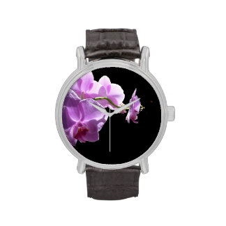 © P Wherrell Pink orchid on black background Wristwatches