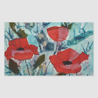 © P Wherrell Red poppies Fine art painting Rectangular Sticker