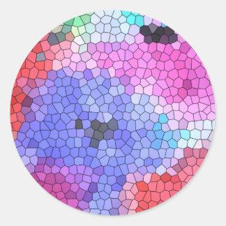 © P Wherrell Stained glass mosaic anemones on silk Classic Round Sticker