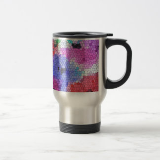 © P Wherrell Stained glass mosaic anemones on silk Travel Mug