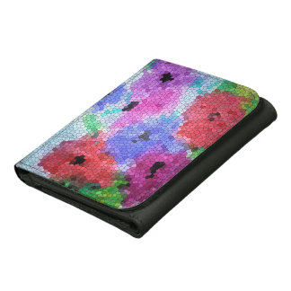 © P Wherrell Stained glass mosaic anemones on silk Leather Tri-fold Wallet
