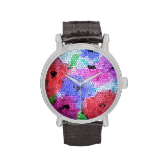 © P Wherrell Stained glass mosaic anemones on silk Wristwatch