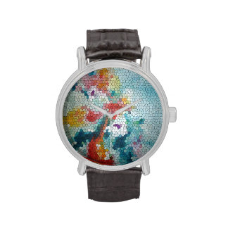 © P Wherrell Stained glass mosaic waterlilies Wristwatches