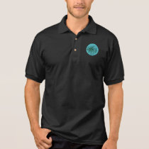 © P Wherrell Stylish blue circle geometric pattern Polo Shirt