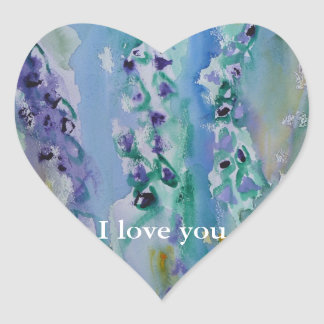 © P Wherrell Stylish trendy impressionist bluebell Heart Sticker