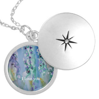 © P Wherrell Stylish trendy impressionist bluebell Silver Plated Necklace
