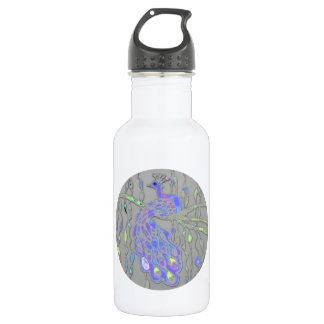 © P Wherrell Stylish trendy impressionist peacock 18oz Water Bottle