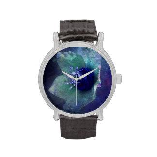© P Wherrell Stylish white blue textured flower Wrist Watches