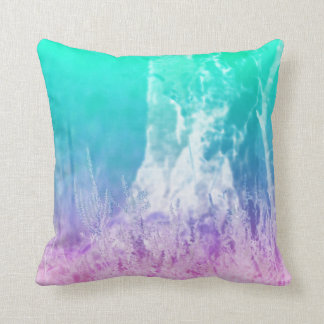 © P Wherrell Summer landscape in blue and pink Throw Pillow