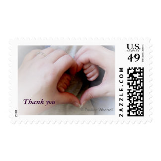© P Wherrell Thank you mother baby hands heart Postage