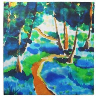 © P Wherrell Winding path woods silk painting Printed Napkins