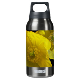 © P Wherrell Yellow California poppies on black Insulated Water Bottle