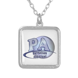 PA BLUE LOGO PHYSICIAN ASSISTANT SILVER PLATED NECKLACE
