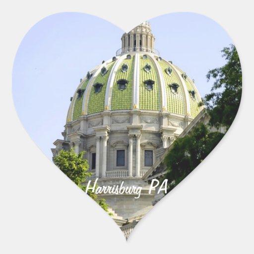 PA de Harrisburg Pegatina En Forma De Corazón