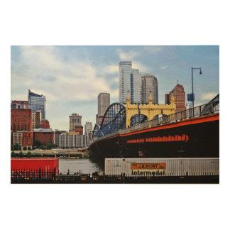 PA de Pittsburgh - Tren por el puente del St de Impresión En Madera