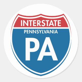 PA de un estado a otro de Pennsylvania Pegatina Redonda