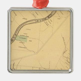 PA del río de Allegheny, mapa Adorno Navideño Cuadrado De Metal