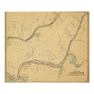 PA del río de Allegheny mapa Posters