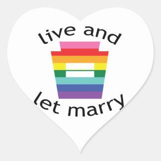 PA Keystone Equality Rainbow Live Marry blk font Heart Sticker