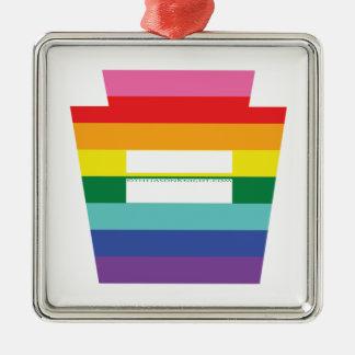 PA Keystone Marriage Equality Rainbow Graphic Metal Ornament