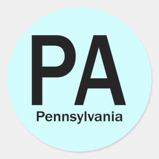 PA Pennsylvania  plain black Round Sticker