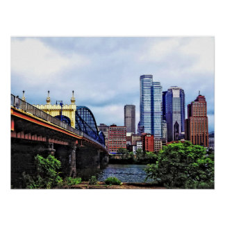 PA - Pittsburgh Skyline By Smithfield St Bridge Poster