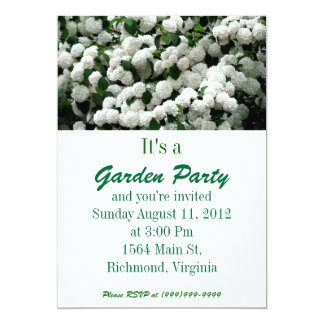 Pa White Snowball Bush Garden Party Invitation