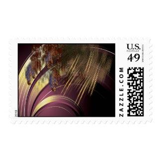 Pabellón con las cañas y la bella arte de timbre postal