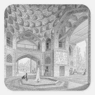 Pabellón de los ocho paraísos, en Isfahán, de Calcomanía Cuadradas Personalizada
