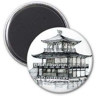 Pabellón de oro Kinkakuji Kyoto.png Imán Redondo 5 Cm