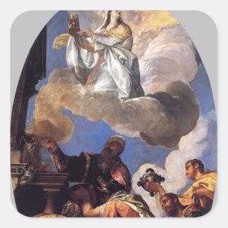 Pablo Veronese- Religio y FIDES (religión y fe) Pegatinas Cuadradas