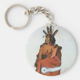 Pachtuwa-Chta, Arikara Warrior Portrait by Bodmer Basic Round Button Keychain