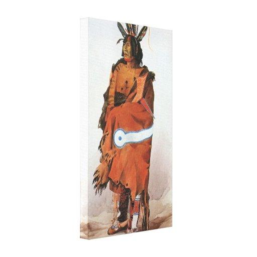 Pachtuwa-Chta, Arikara Warrior Portrait by Bodmer Canvas Print